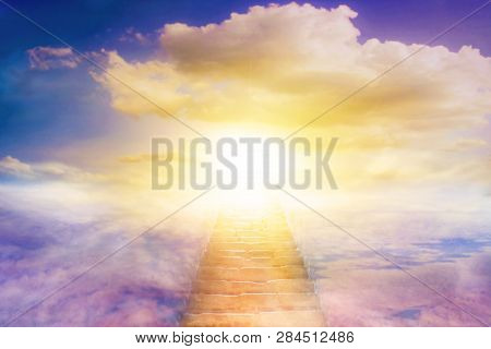 Light In Dark Sky . Stairs In Sky . Religion For The Person . Way To Heaven  . Religious Background