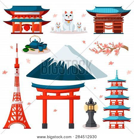 Travel To Asia, Japan Icons And Isolated Design Elements Set. Vector Japanese And Tokyo Culture Symb