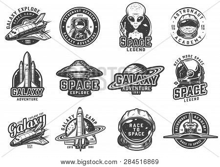 Vintage Monochrome Space Emblems Set With Shuttles Alien Showing Peace Sign Ufo Rocket Saturn Planet