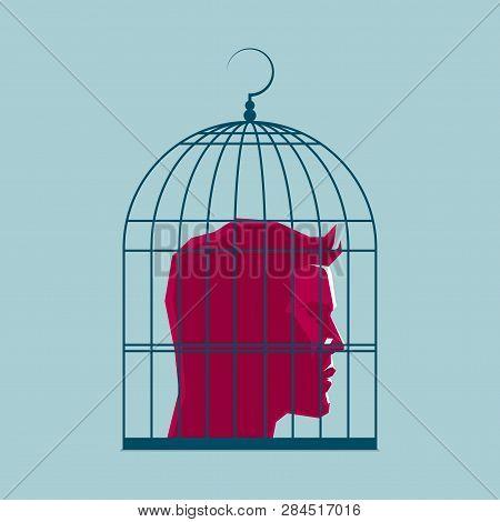 Human Head In A Birdcage, Surreal Concept Design.