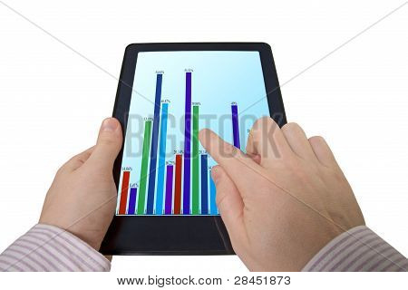 Hand And Tablet Computer With Business Graph