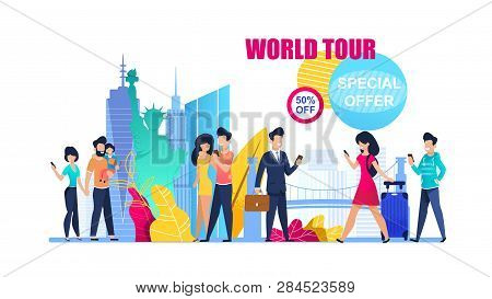 Banner Illustration Special Offer On World Tour. 50 Percent Discount On Group Travel. Family Holiday