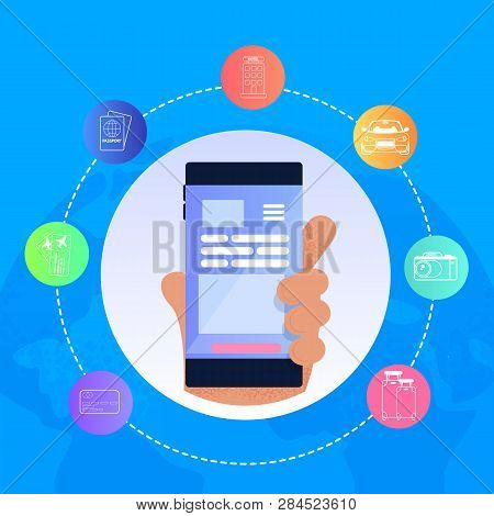 Vector Illustration Man Hand Holding Mobile Phone. Online Service For Buying Plane Tickets, Visa, Pa
