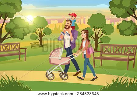 Happy Family Walking In City Park Cartoon Vector. Mother Strolling With Pink Baby Carriage, Father R