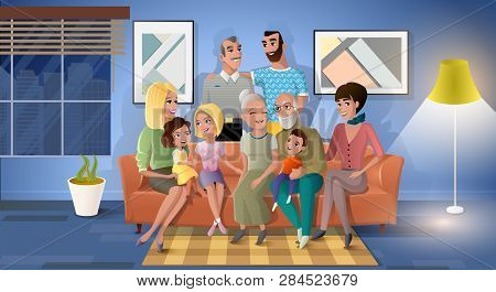 Big Family Spending Time Together Cartoon Vector With Happy Smiling Senior Couple Sitting On Sofa In