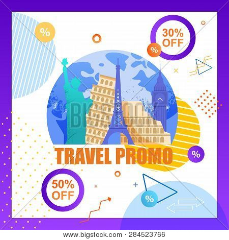 Illustration Travel Promo Organizing Tourist Trip. Flat Vector Banner Discount For Group Travel. Fam
