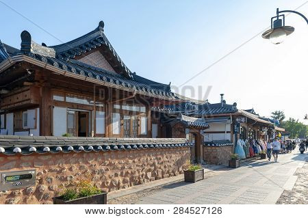 Jeonju, South Korea - September 2018: Ancient House Built In Korean Traditional Architecture In Jeon