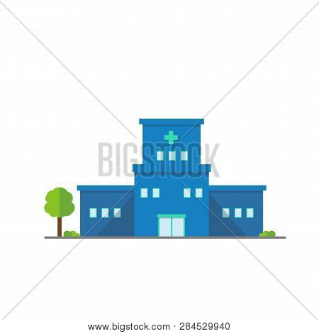 Flat Hospital Buiding Outdoor Design Icon.vector Illustration.medical Buiding Center With Tree.