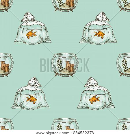 Seamless Pattern With Fishbowl And Goldfish On Light Blue Background