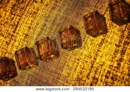 Abstract Yellow Texture Of Matter With Backlighting.