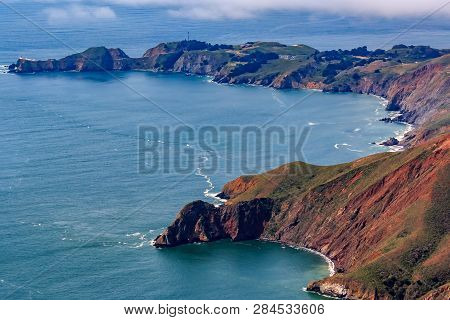 Rugged Coastal Cliffs Above The Pacific Ocean By The Point Bonita Lighthouse In Marin County Califor