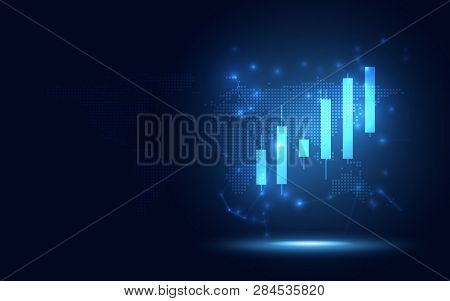 Futuristic Raise Candle Stick Chart Digital Transformation Abstract Business Background. Big Data An