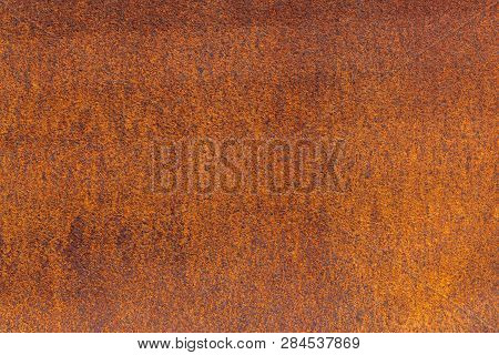Rust On Metallic Surface. Rusted Iron Texture. Rusty Metal Background With Copy Space. Rough Oxide P