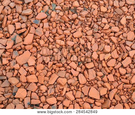 Pieces Of Crushed Building Bricks, Southern Bohemia, Czech Republic