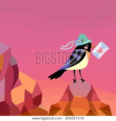 Square Card For Valentine's Day With Mountains At Dawn And A Funny Bird In A Hat With An Envelope In