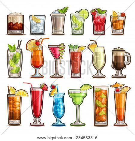 Vector Set Of Tropical Cocktails, 18 Cut Out Classic Cocktails With Design Garnish: White Russian, B