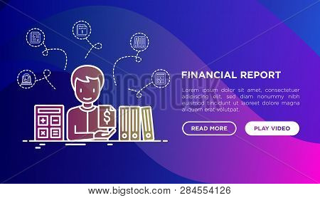 Financial Report Concept: Accountant With Calculator And Financial Documents In Folders. Modern Vect