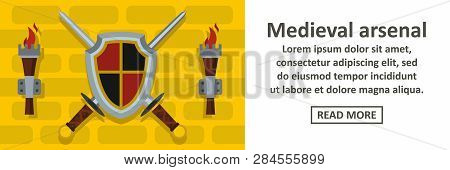 Medieval arsenal banner horizontal concept. Flat illustration of medieval arsenal banner horizontal concept for web poster