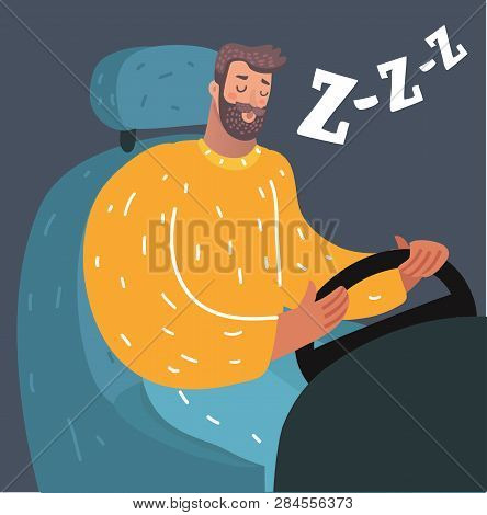 Vector Cartoon Illustration Of Stay Awake While Driving. Sleep Deprivation. How Not To Fall Asleep A