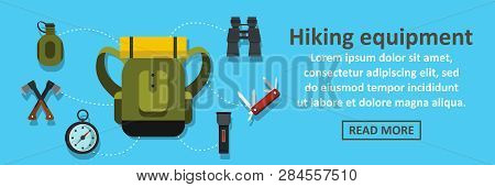 Hiking Equipment Banner Horizontal Concept. Flat Illustration Of Hiking Equipment Banner Horizontal