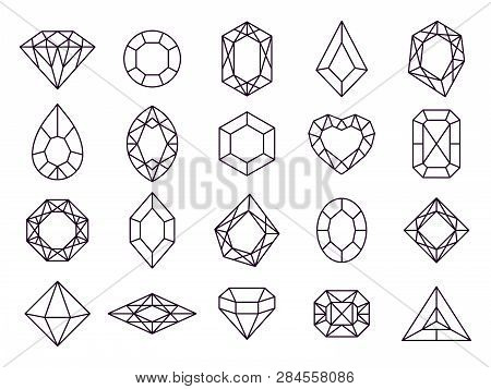 Jewels Diamond Icons. Diamonds Gems, Luxury Jewel Gemstones And Precious Gem Isolated Vector Line Ic