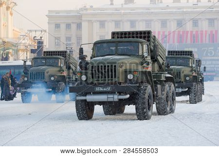 Saint Petersburg, Russia - January 24, 2019: Cars Of A System Of Volley Fire 9k51m