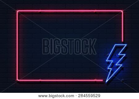 Neon Lightning Frame. Electricity Power Flash Logo On Black Background, Power Outage Concept. Vector