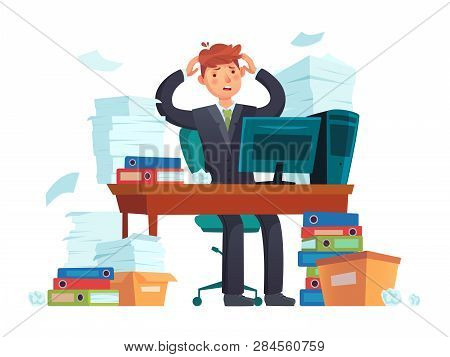 Manager Overworked. Office Overwork, Unorganized Paperwork And Business Work Document Sheets Piles C