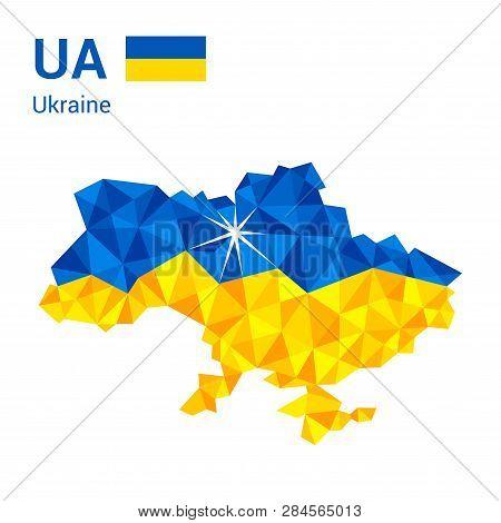 Ukraine Flag Map In Polygonal Geometric Style. Vector Illustration Of Ukraine, Ua Map In Geometric P