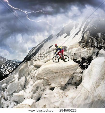 Powerful Avalanche Danger In The Rural Carpathian Ukraine, Which Is Pulled Down A Slope Of Black Mou