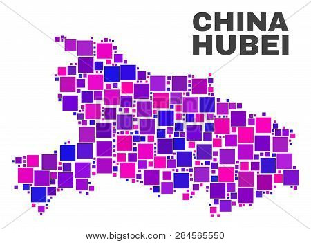 Mosaic Hubei Province Map Isolated On A White Background. Vector Geographic Abstraction In Pink And