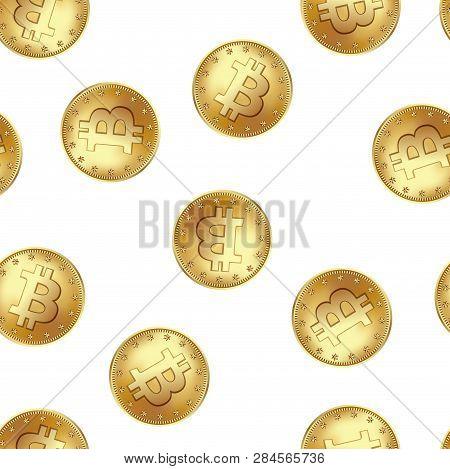 Bitcoin Golden Coin Seamless Pattern. Golden Rain Of Flying Money. Vector Illustration Icolated On A