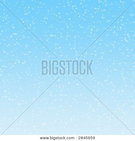 Illustration of of snowflakes falling on graduated blue background poster