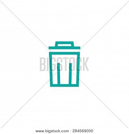Garbage Bin, Trash Can, Wastebasket Line Icon. Clean, Delete Button. Waste