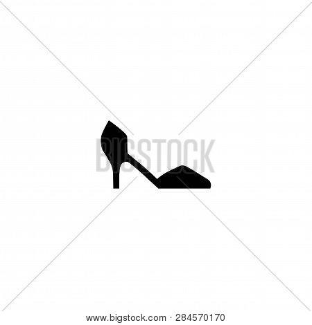 Female Shoe With High Heel. Elegant Black Court Shoe Isolated On While Background. Vector Illustrati