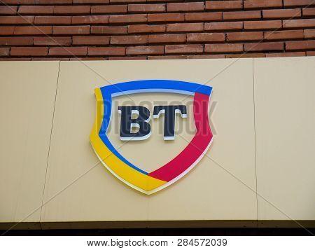 Miercurea Ciuc, Romania-17 February 2019: Banca Transilvania Street Sign.