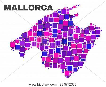 Mosaic Mallorca Map Isolated On A White Background. Vector Geographic Abstraction In Pink And Violet