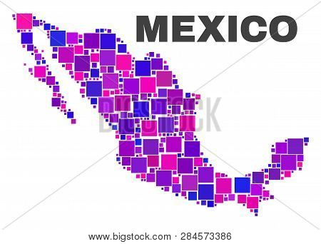 Mosaic Mexico Map Isolated On A White Background. Vector Geographic Abstraction In Pink And Violet C