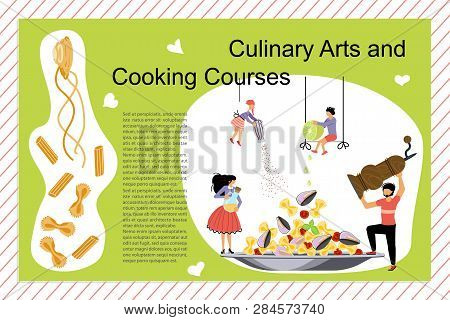Culinary Art And Cooking Courses Poster, Banner Template. Happy Family Cooking Together A Sea Foog P
