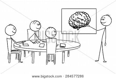 Cartoon Stick Figure Drawing Conceptual Illustration Of Business Management Team On Brainstorming ,