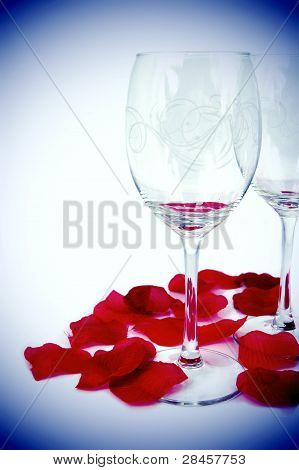 Glasses And Rose Petals Composition