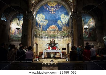 Jerusalem , Israel - January 25 . 2019 : Catholic Service In The Church Of All Nations In Jerusalem