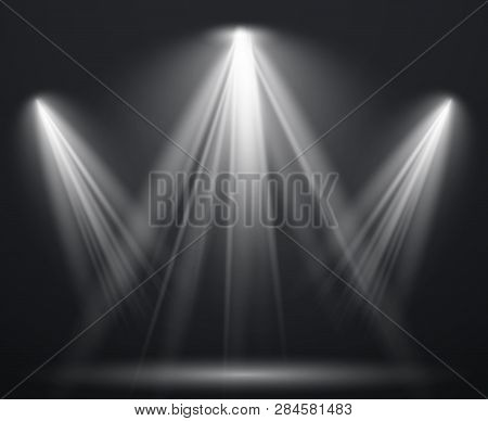 Spotlight Scene. Light Effect Spot Projector Ray Studio Glow Lamp Beams Shining Bright Lighting Show