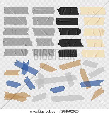 Scotch Tape. Old And Black Grunge, Transparent Adhesive Tapes, Sticky Duct Piece Vector Illustration