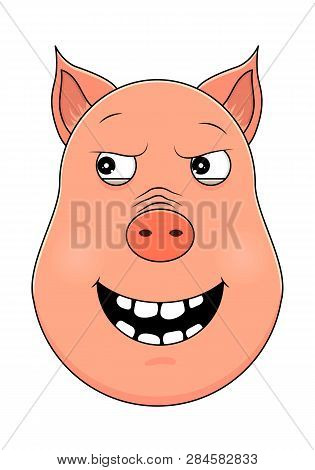 Head of pig in cartoon style. Vector illustration. Woodland animal head icon. Malevolent pig. Pig emotional head. poster