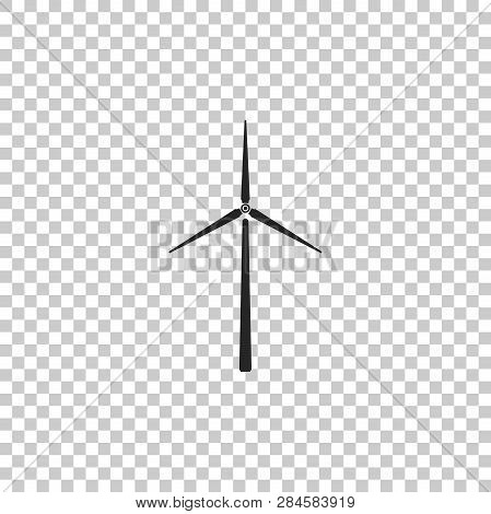 Wind Turbine Icon Isolated On Transparent Background. Wind Generator Sign. Windmill Silhouette. Wind