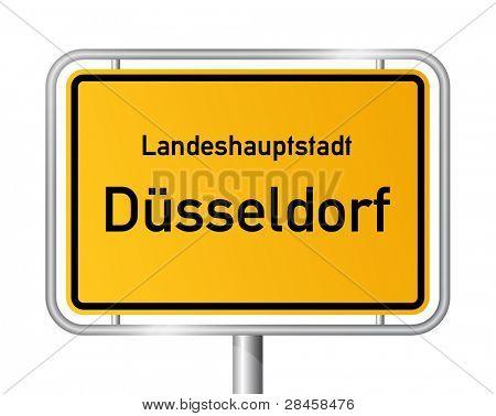 City limit sign DUSSELDORF / DÜSSELDORF against white background - federal state of North Rhine Westphalia / Nordrhein Westfalen