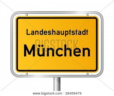 City limit sign MUNICH / MÜNCHEN against white background