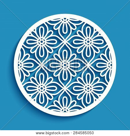Round Panel With Lace Pattern, Elegant Circle Ornament, Cutout Paper Vector Decoration, Stencil Temp