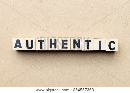 poster of Alphabet letter block in word  authentic on wood background